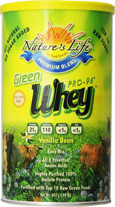 Nature's Life Whey, Green, Vanilla Bean, Powder, 442 Grams