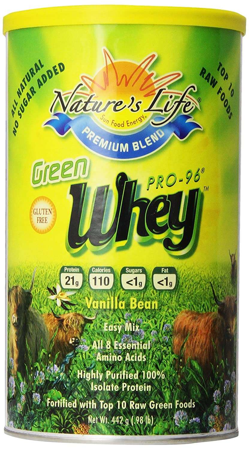 Nature s Life Whey, Green, Vanilla Bean, Powder, 442 Grams