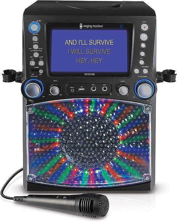 Singing Machine STVG785BT CDG Bluetooth Karaoke Machine con luces de discoteca, un monitor TFT LCD de 7