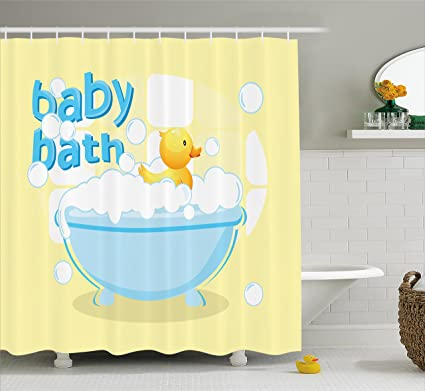 Amazoncom Lunarable Duckies Shower Curtain By Rubber Duckling