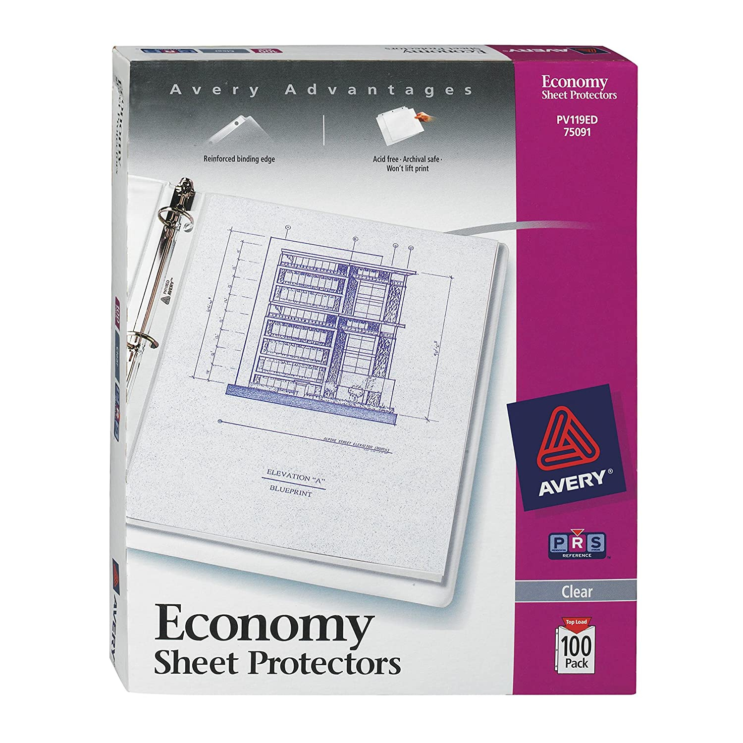 Binder sheets card photo sleeves amazon office school avery economy clear sheet protectors acid free 75091 kristyandbryce Choice Image