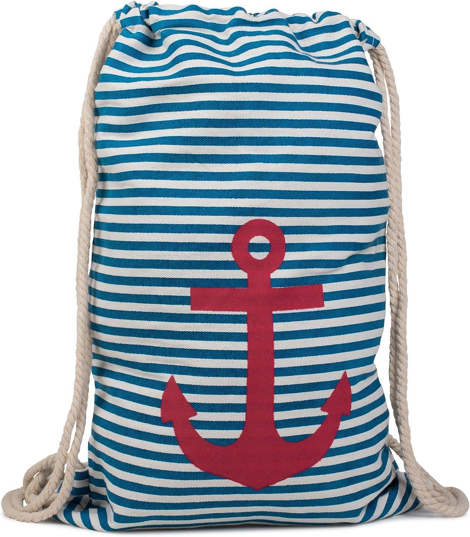 styleBREAKER Bolsa de Deporte, Mochila con diseño Marinero con Rayas y Estampado de Ancla, Unisex 02012052, Color:Azul-Blanco/Rojo