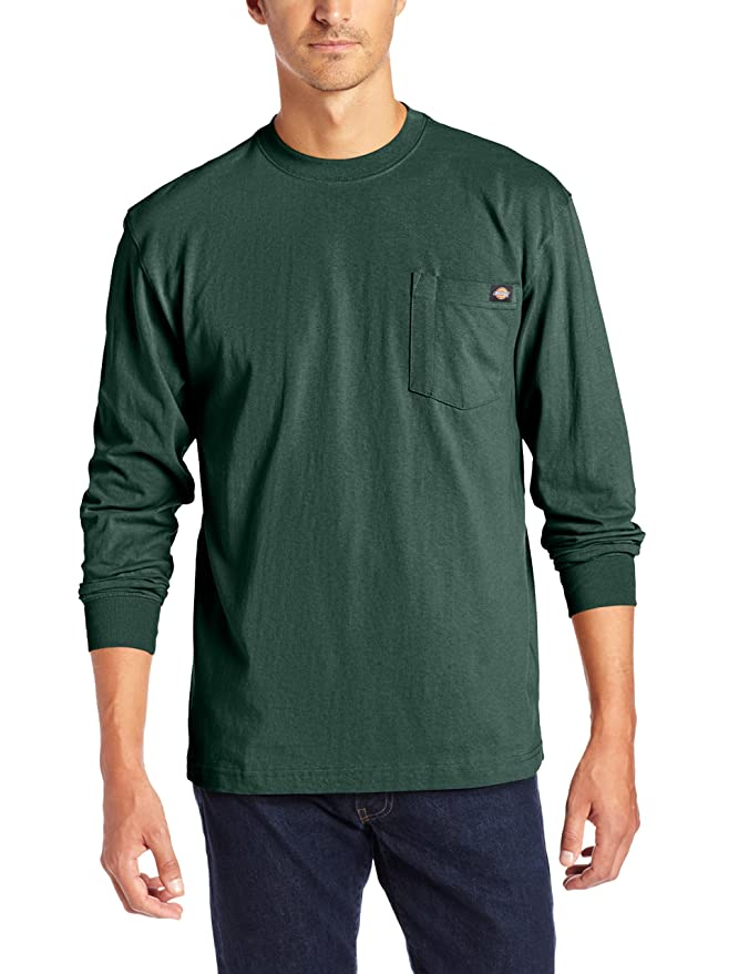 Dickies Men's Long Sleeve Heavyweight Crew Neck, Hunter Green, Large
