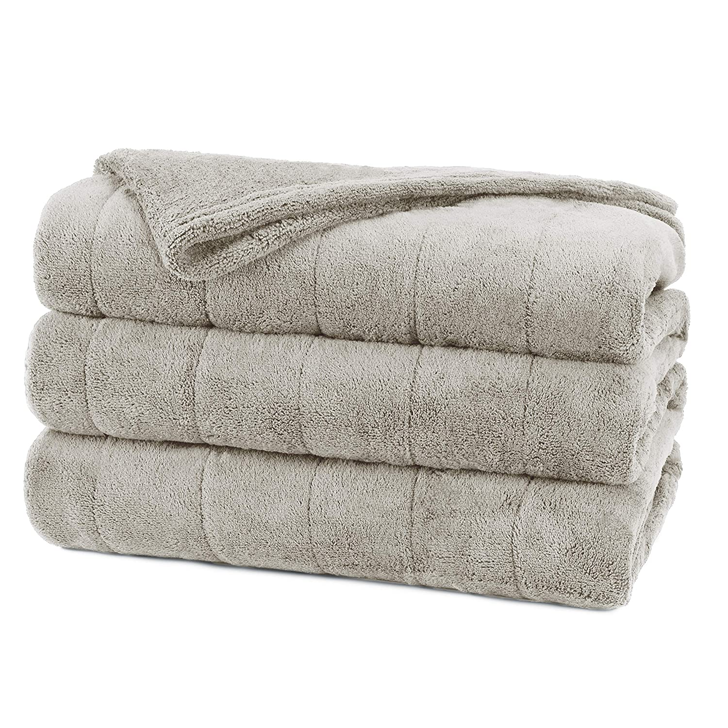 Sunbeam BSM9SFQ-RG29-17A50 Micro Plush Heated Blanket, Brushed Nickel, Full/Queen