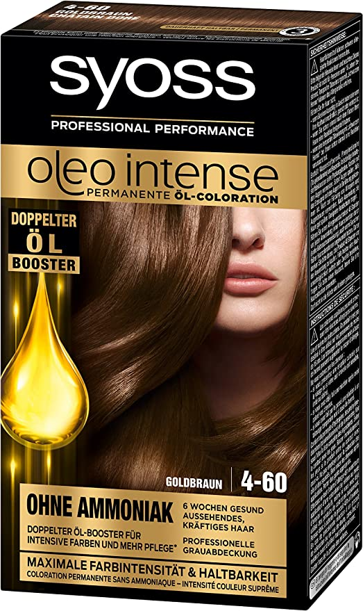 Syoss Oleo Intense - Tinte para el cabello, color marrón dorado, 4-60, 3 unidades (3 x 115 ml)