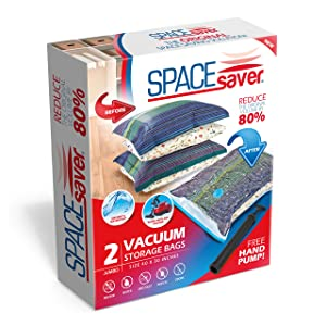 Spacesaver Premium Jumbo Vacuum Storage Bags (80% More Storage Than Leading Brands) Free Hand Pump For Travel! (2 Pack)