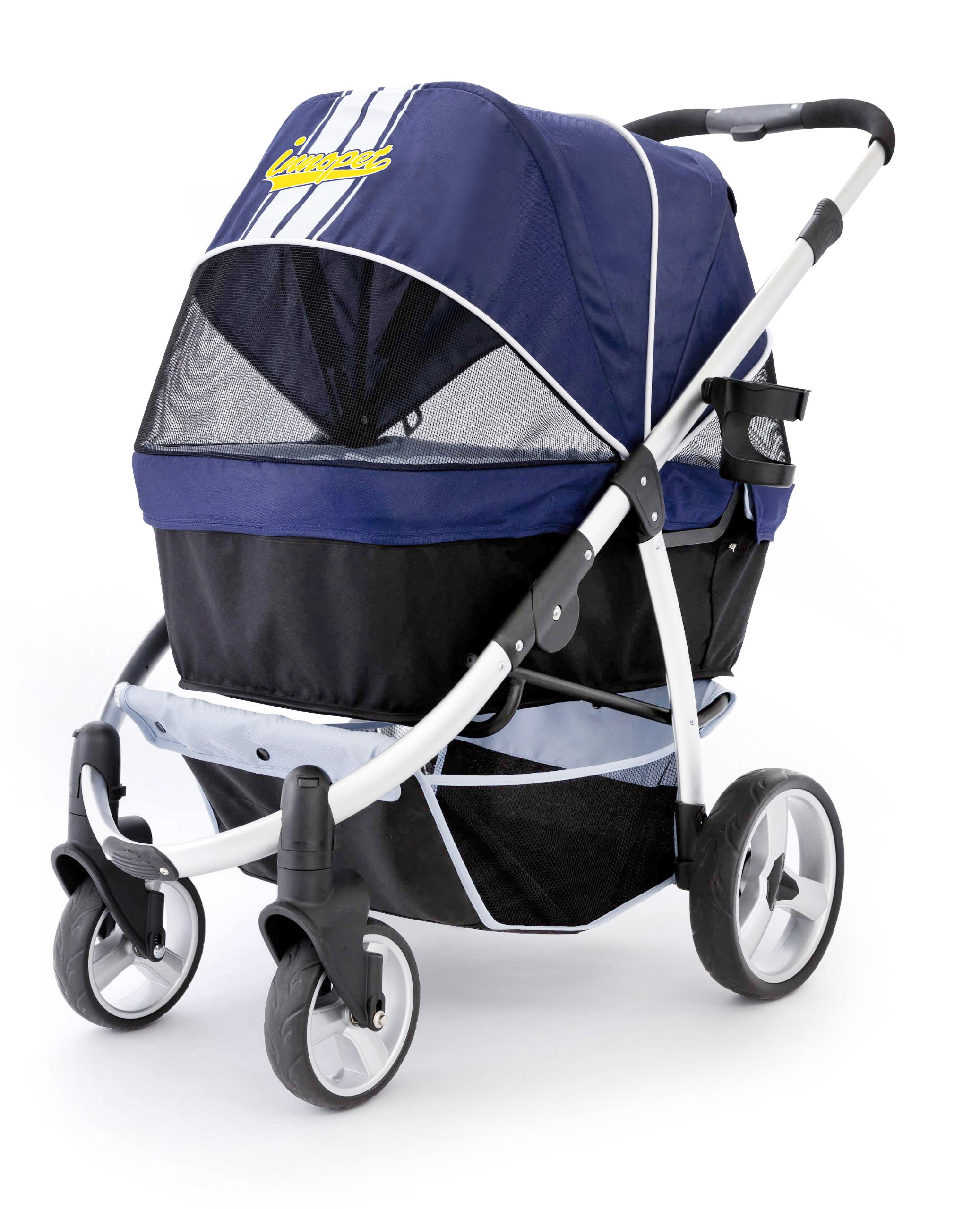 Innopet Pet Stroller,IPS-06/Navy-Blue, Dog Carrier, Trolley, Trailer, Buggy Retro. Foldable pet Buggy, Pushchair, pram for Dogs and Cats by Innopet