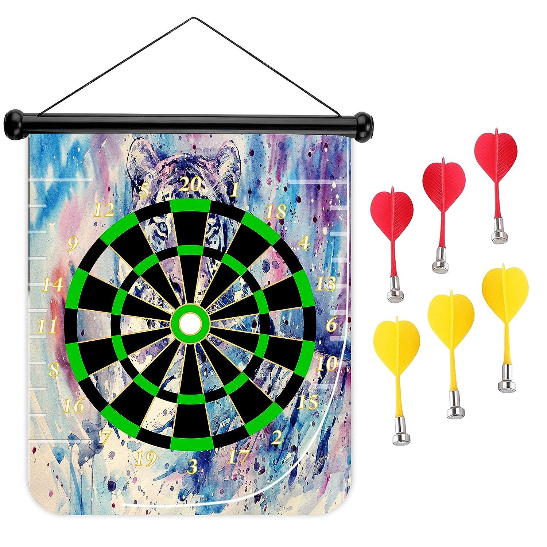 15インチMagnetic Dart Board Double Sided Hanging Dart Board Set and Bullseyeゲーム。White Tigers B079KDNXHG