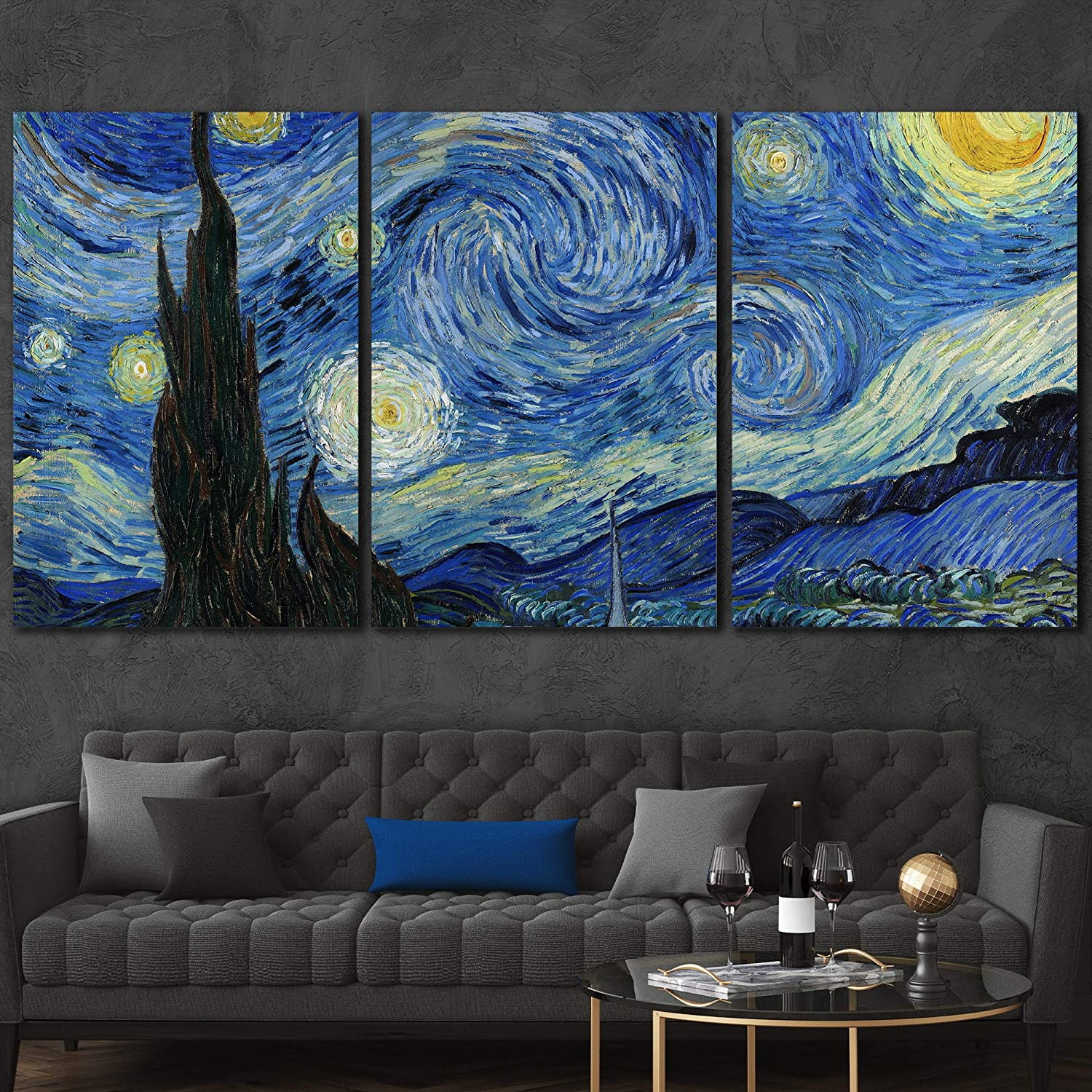 wall26 3 Panel Canvas Wall Art - Starry Night by Vincent Van Gogh - Giclee Print Gallery Wrap Modern Home Art Ready to Hang - 16