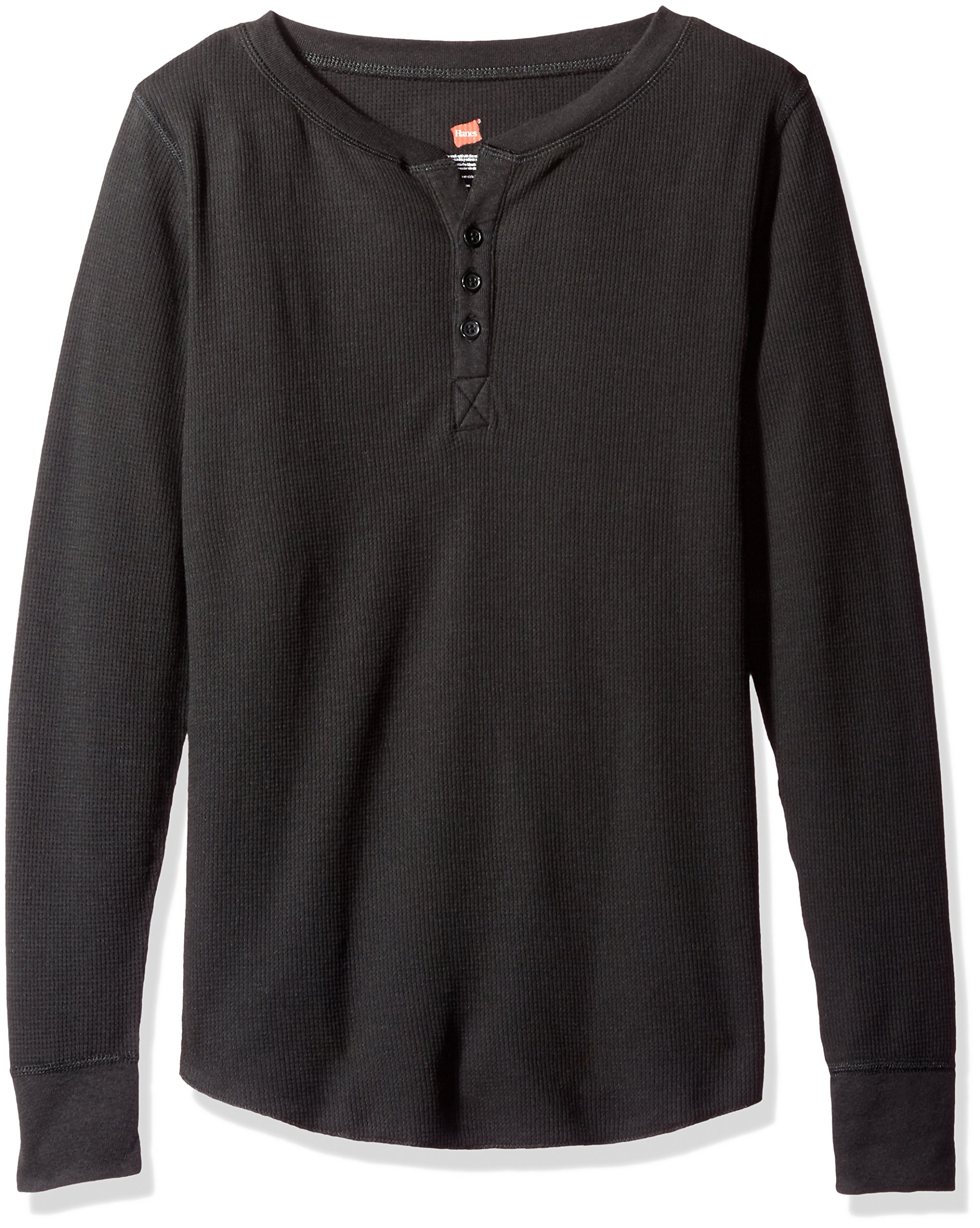 Hanes Women's Plus Size Ultimate Thermal Henley, Black, Small