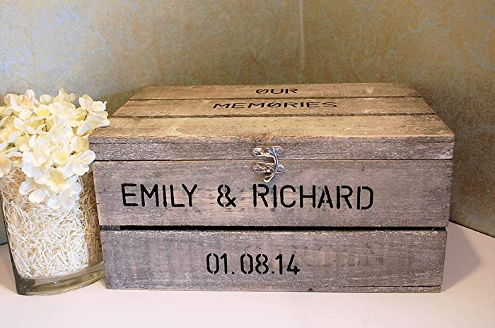 Extra Large Personalised Wooden Crate Hand Stamped For Wedding