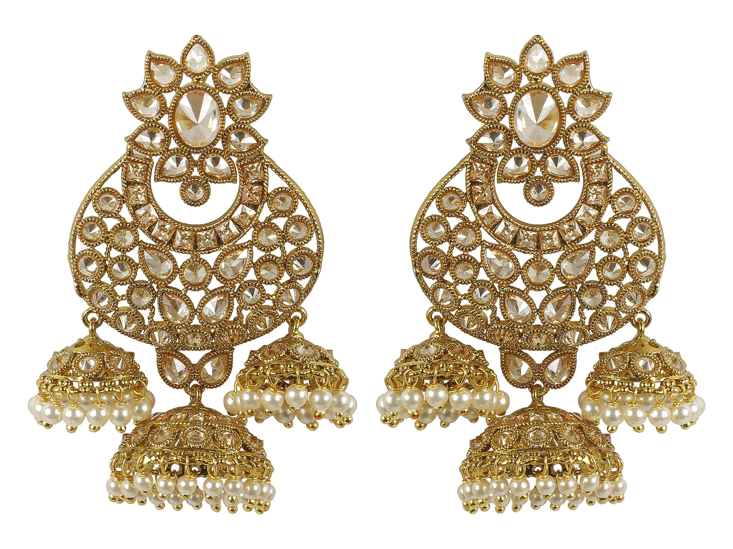 MUCHMORE Womens Fashion Style Crystal & Pearl Stone Polki Indian Earrings Bollywood Jewelry