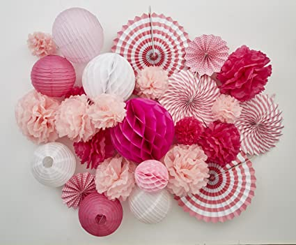 Amazon tissue paper flower pom pom lantern fan birthday baby tissue paper flower pom pom lantern fan birthday baby bridal shower wedding prom party 27 pcs mightylinksfo