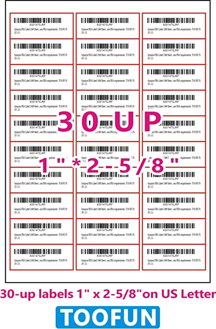 Amazon Fba Label 100 Sheets 3000 Labels 30 Up Labels 1 2 5 8 On Us Letter White Self Adhesive Shipping Mailing Stickers For Laser Inkjet Printer