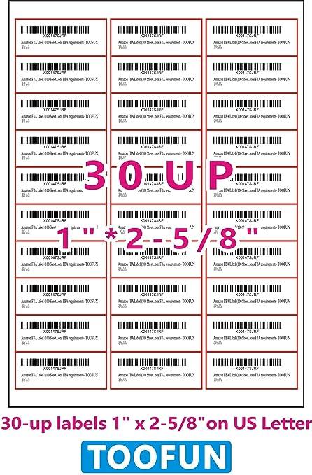 amazon com amazon fba label 100 sheets 3000 labels 30 up labels
