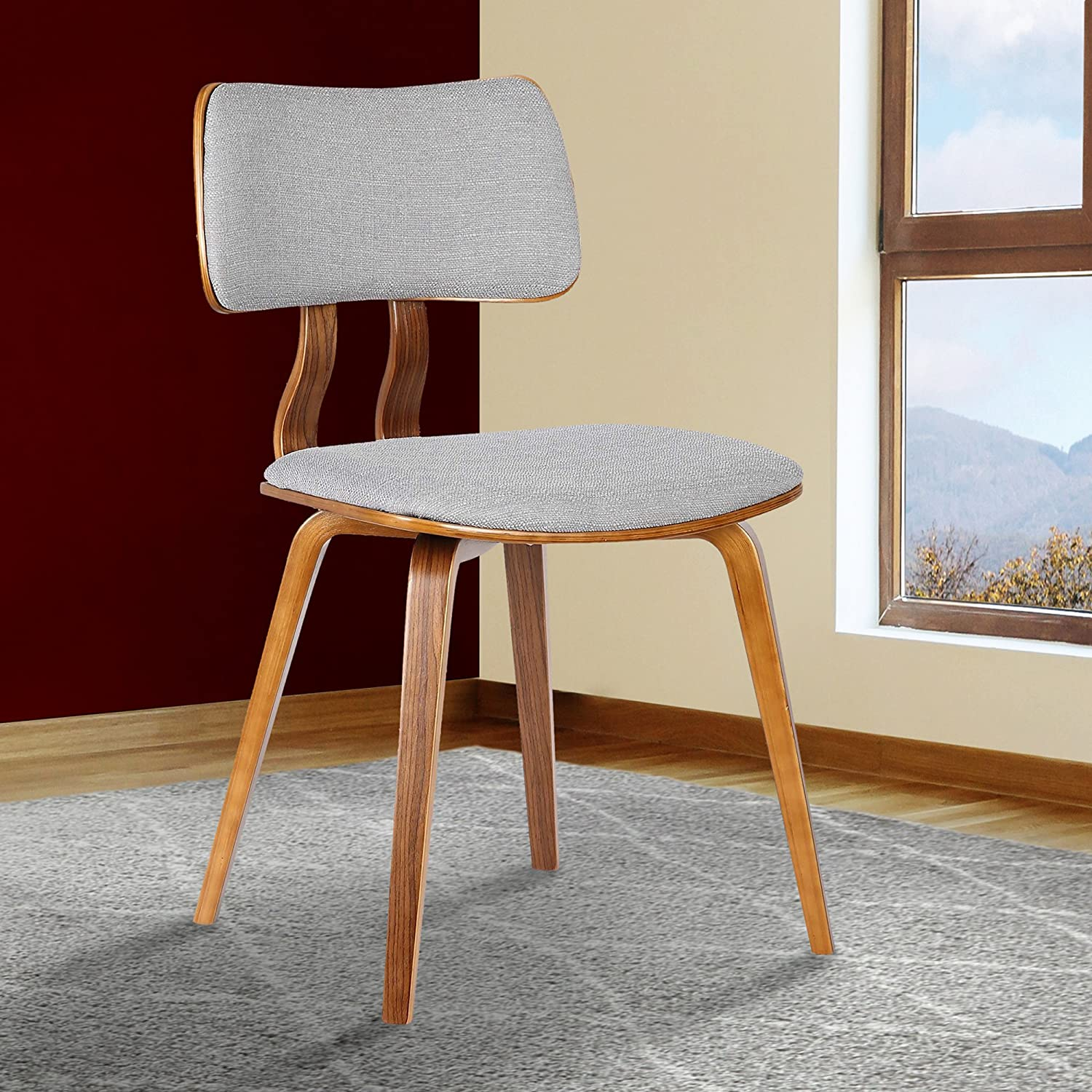 Armen Living LCJASIWAGRAY Jaguar Dining Chair in Grey Fabric and Walnut Wood Finish