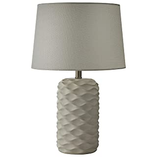 Amazon Brand – Rivet Mid Century Modern Ceramic Wave Living Room Table Lamp With LED Light Bulb and Shade - Inches, White