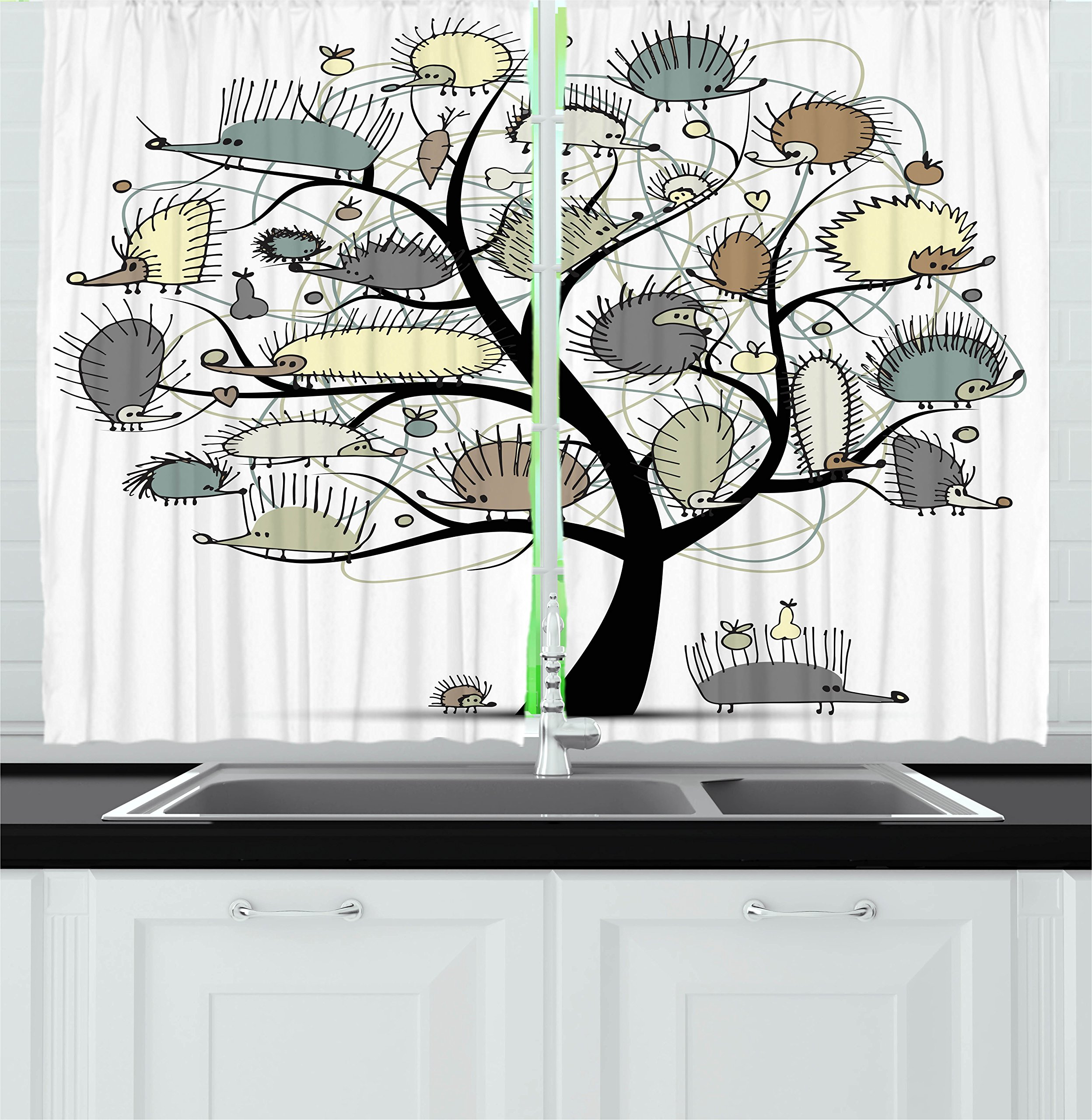 Ambesonne Animal Decor Kitchen Curtains, Cartoon Drawn Cute Little Hedgehogs on a Tree with Tiny Hearts and FruitsArt, Window Drapes 2 Panels Set for Kitchen Cafe, 55W X 39L Inches, Multicolor