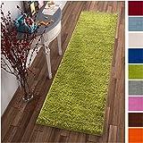 Solid Retro Modern Green Shag 2x7 (2'' x 7'3'' Runner) Area Rug Plain Plush Easy Care Thick Soft Plush Living Room Kids Bedroom