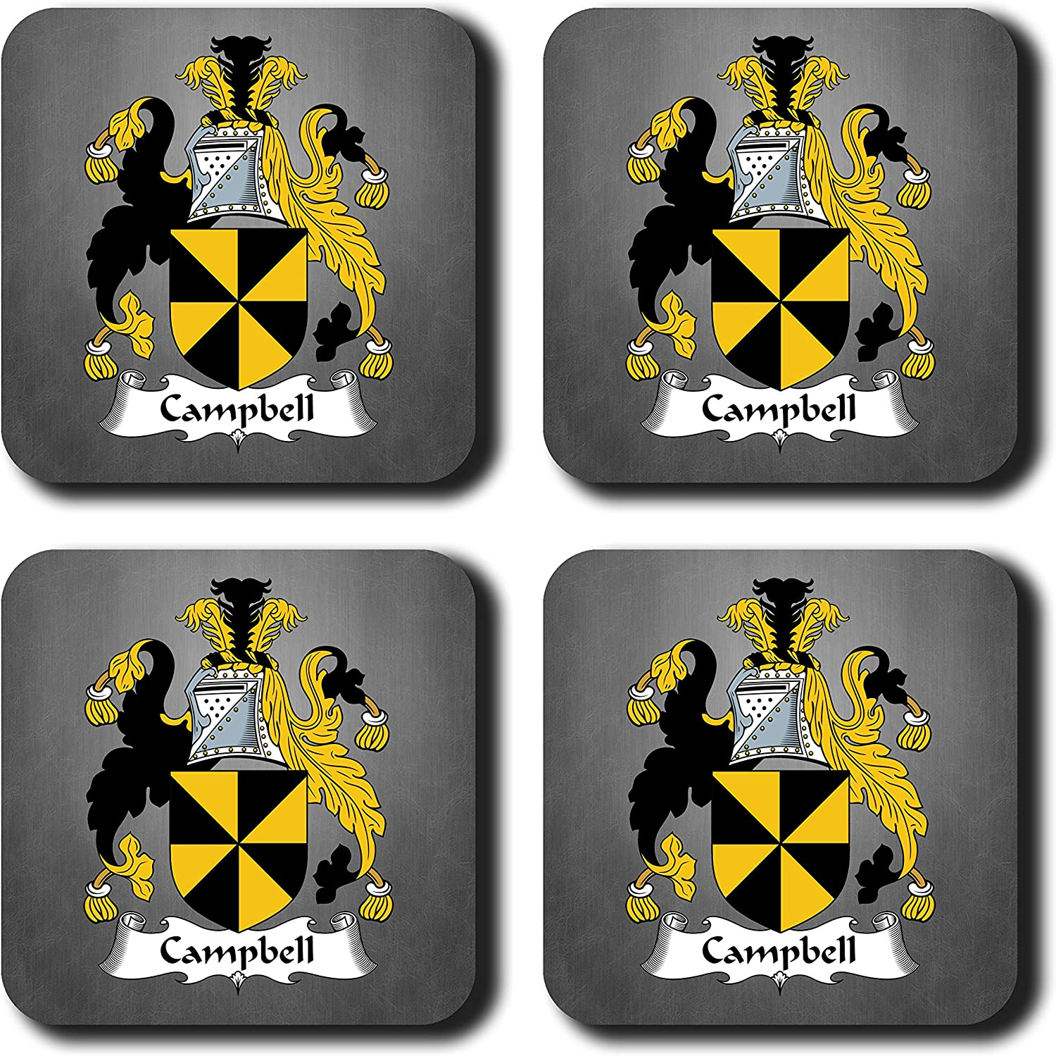 Campbell Coat of Arms/Family Crest Coaster Set, by Carpe Diem Designs – Made in the U.S.A.
