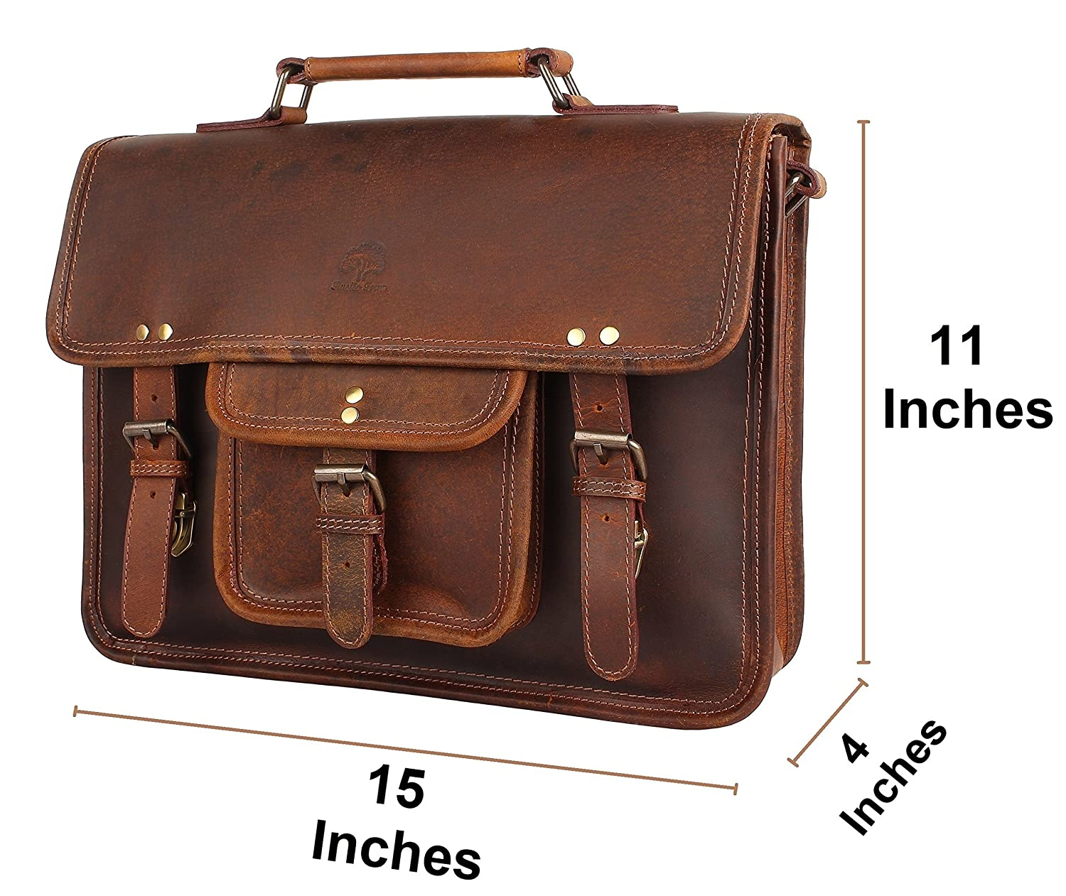 6c86bfc10fda 15 Inch Leather Vintage Rustic Crossbody Messenger Satchel Bag Gift Men  Women ~ Business Work Briefcase Carry Laptop Computer Book Handmade Rugged  & ...