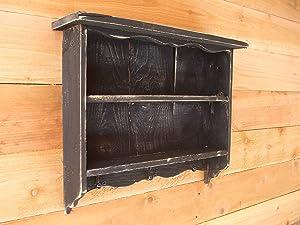 Tall black vintage shabby chic distressed wall shelf, Handmade in Texas with reclaimed wood. farmhousefurnituretx