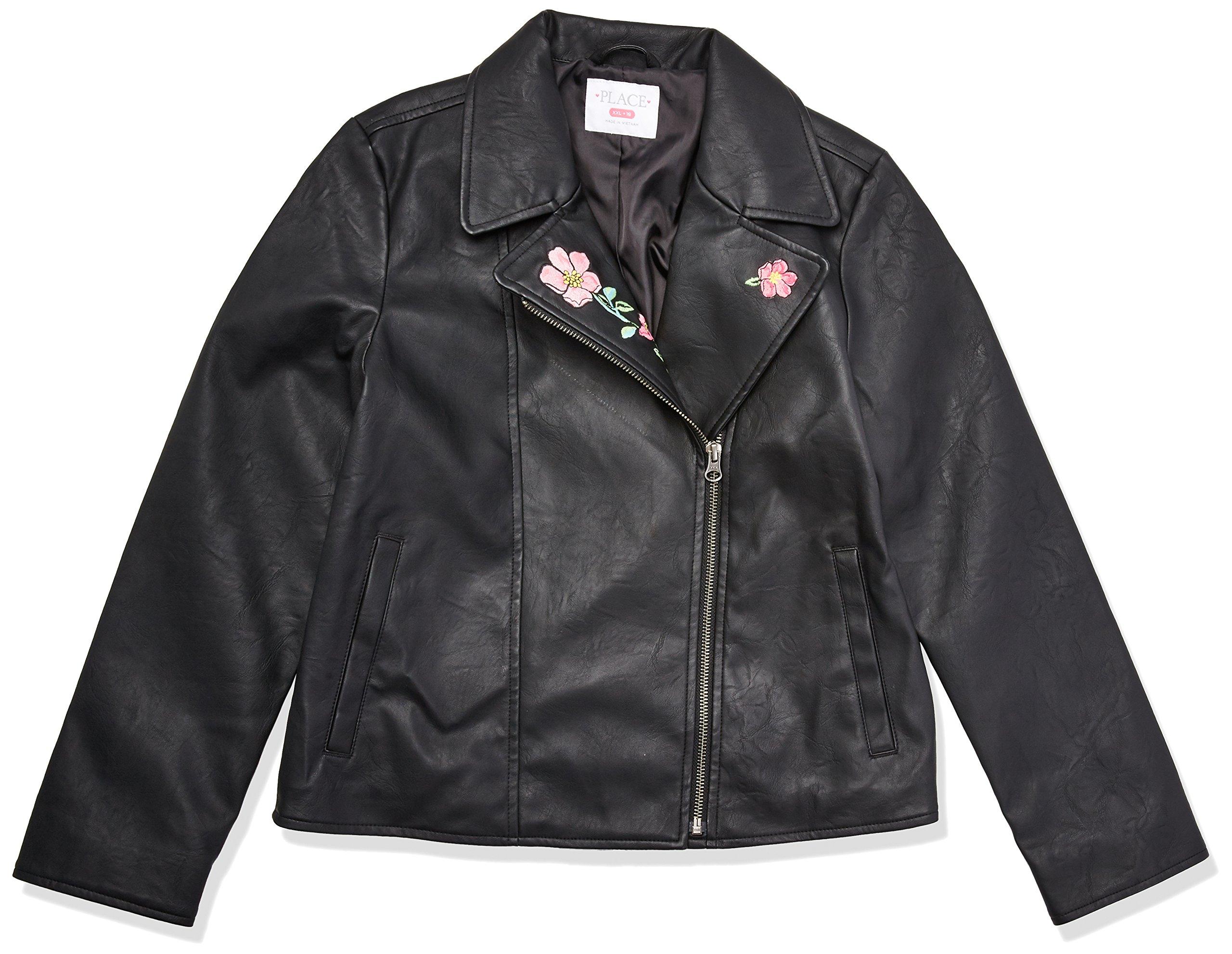 The Children's Place Big Girls' Moto Jacket, Black, L (10/12)