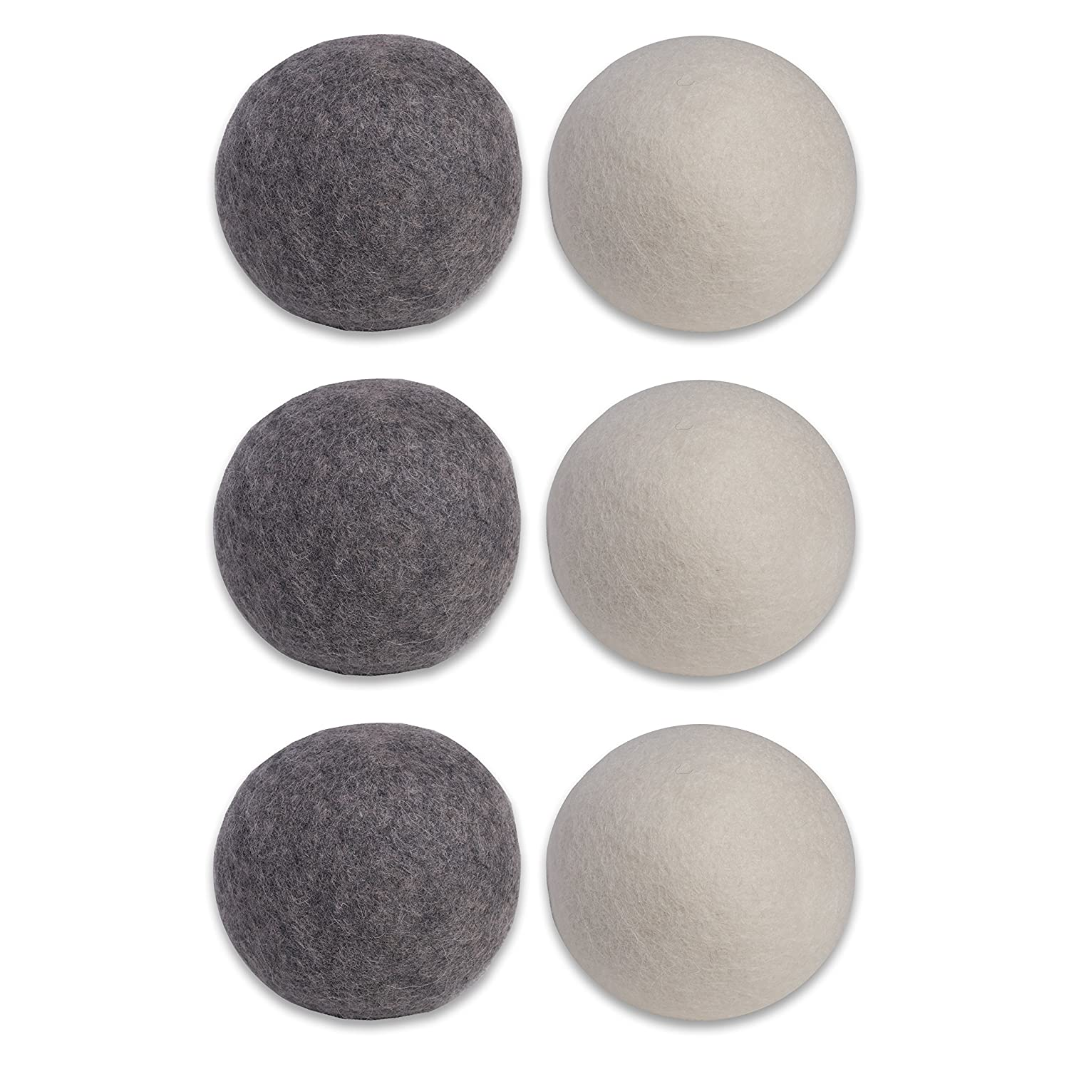 DII Europa Essentials Wool Dryer Balls 100% Organic Zealand Natural Fabric Softener, Static & Wrinkle Reducing, Unscented, Shorten Drying Time, Reusable 1000 Loads, 2.9' D 6 Pack-3 Ivory & 3 Gray 2.9 D 6 Pack-3 Ivory & 3 Gray Z02195-FNSKU
