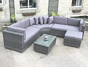 Rattan Outdoor Curved Corner Sofa Set Garden Furniture In Grey