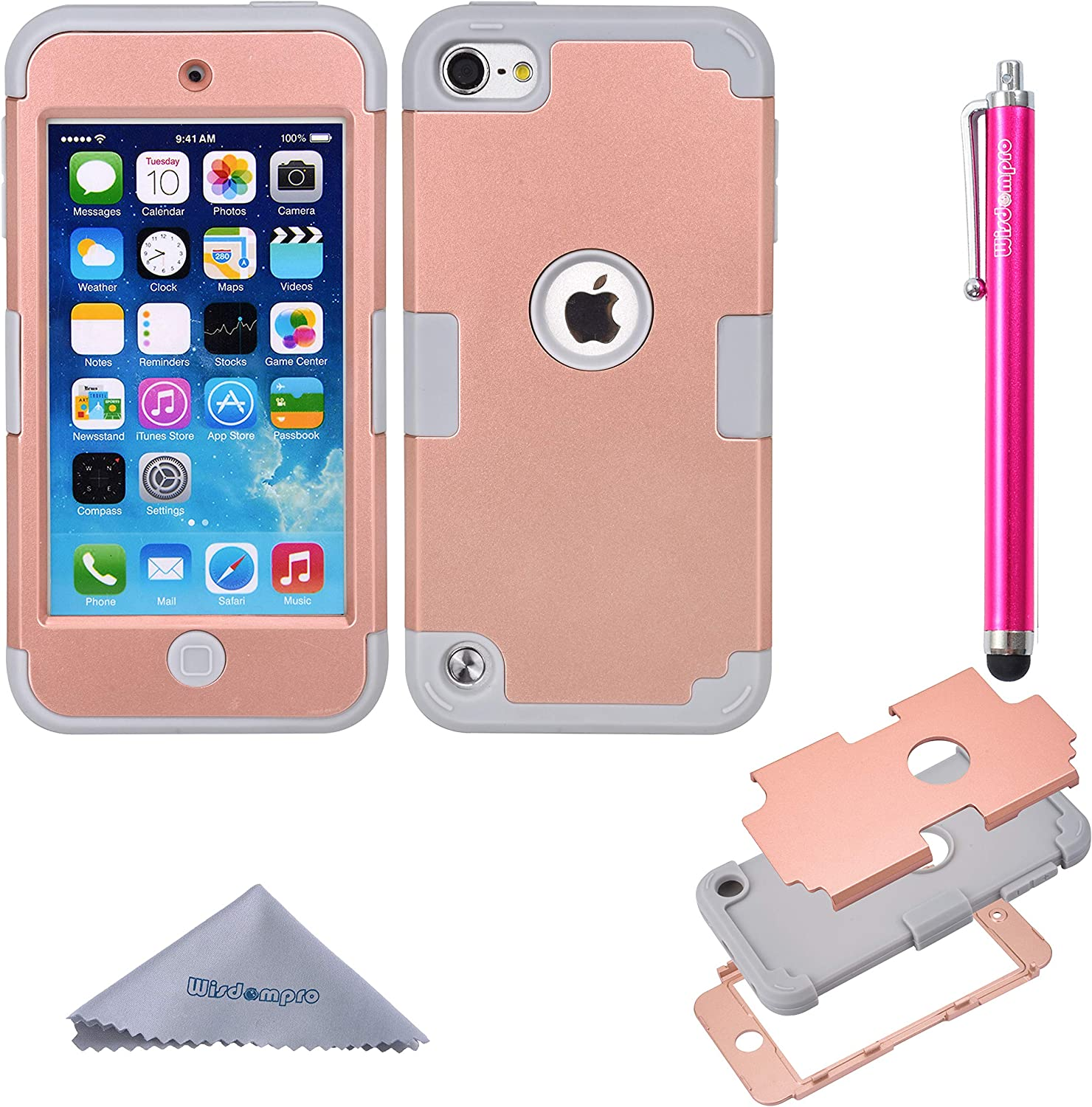 iPod Touch 7 Case, iPod Touch 6 Case, iPod Touch 5 Case, Wisdompro 3 in 1 Hybrid Soft Silicone and Hard PC Protective Cover for Apple iPod Touch 5th, 6th and 7th Generation - Grey and Rose Gold
