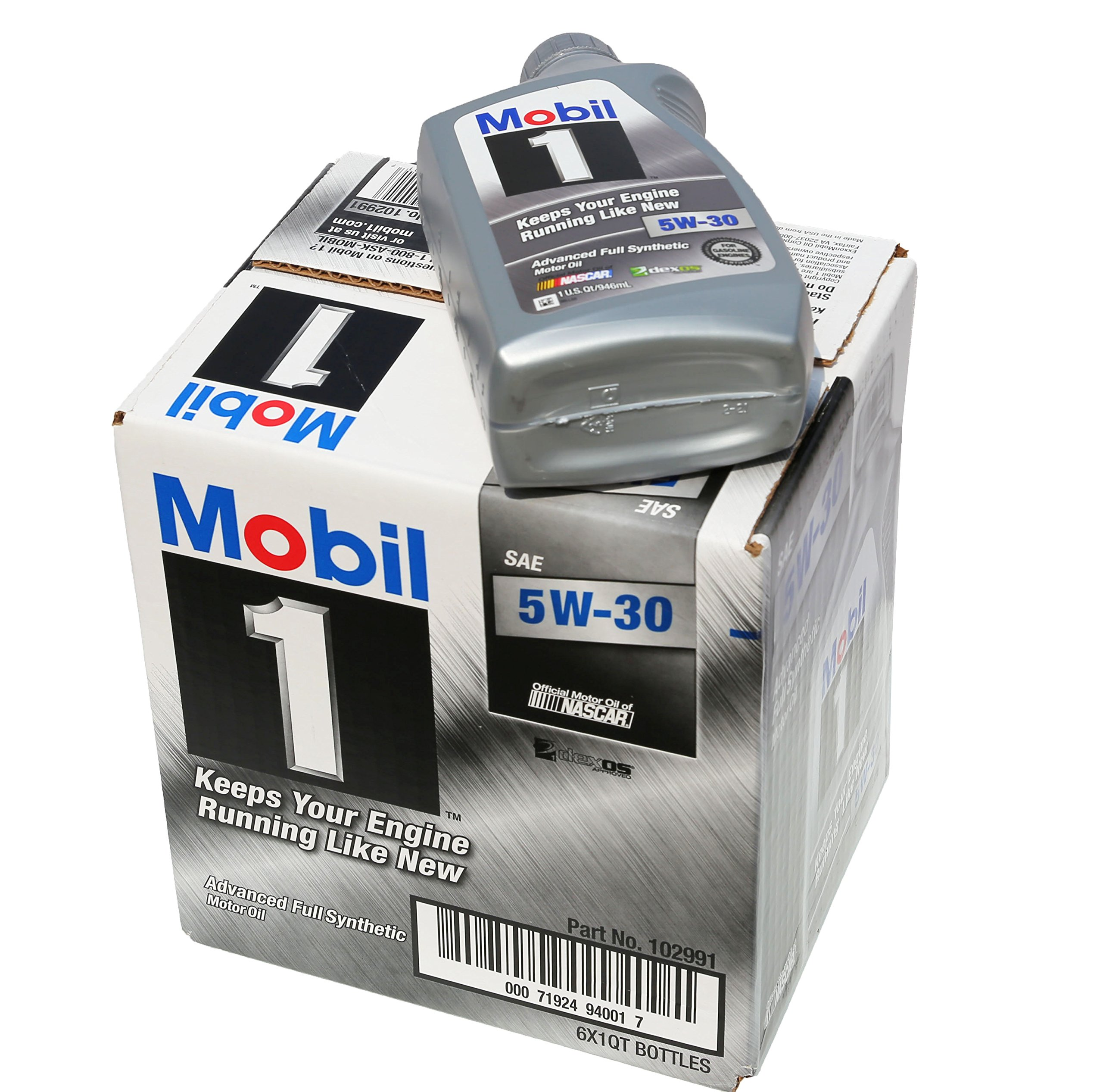 Mobil 1 94001 5w 30 synthetic motor oil 1 quart pack of 6 for Mobil 1 annual protection motor oil barcode
