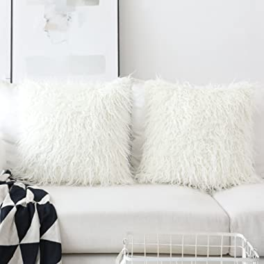 HOME BRILLIANT Merino Style Mongolian Decorative Faux Fur Throw Pillow Covers Cushion Pillowcases for Couch, 20x20inches, 50cm, Set of 2, Off-White