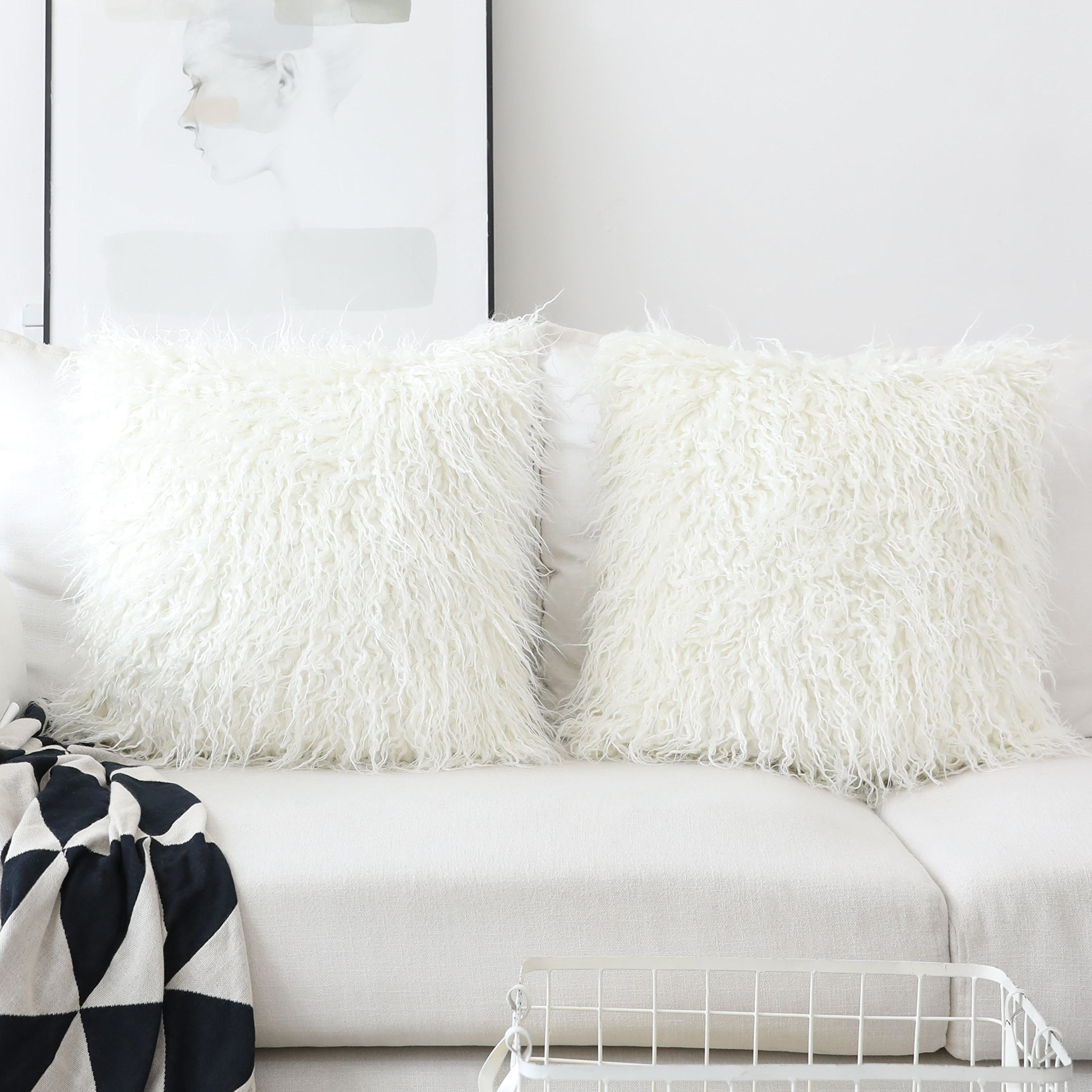 HOME BRILLIANT Set of 2 Decorative Faux Fur Euro Sham Large Fuzzy Throw Pillow Cover for Bed 24''x24'', 60x60cm, Off-White