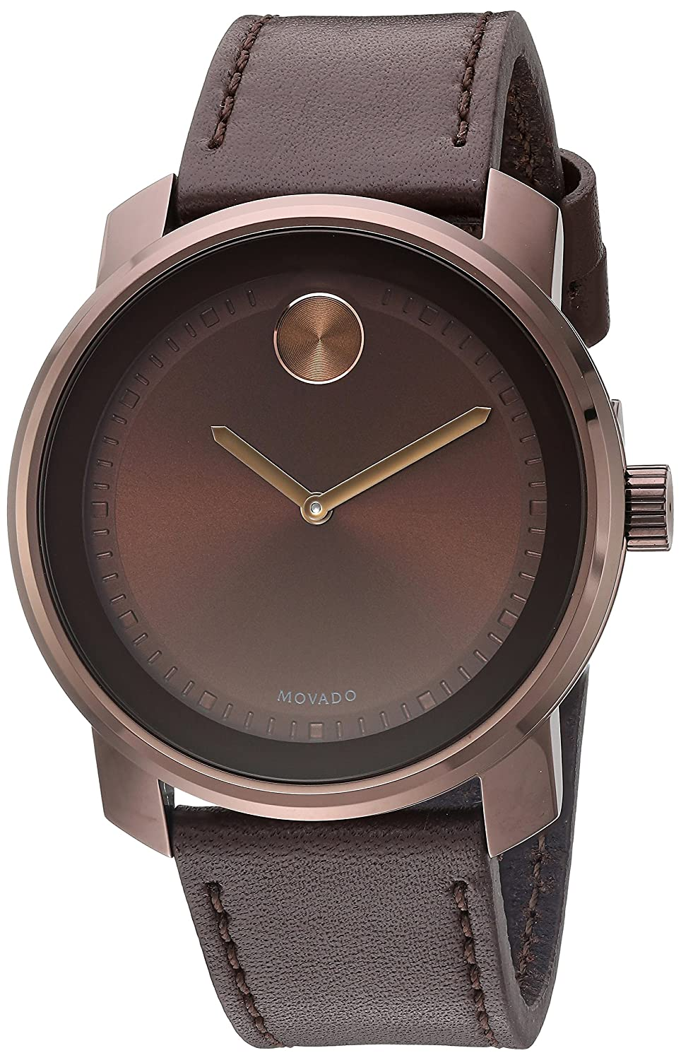 Movado Men s Stainless Steel Swiss-Quartz Watch with Leather Strap, Brown, 22 Model 3600377