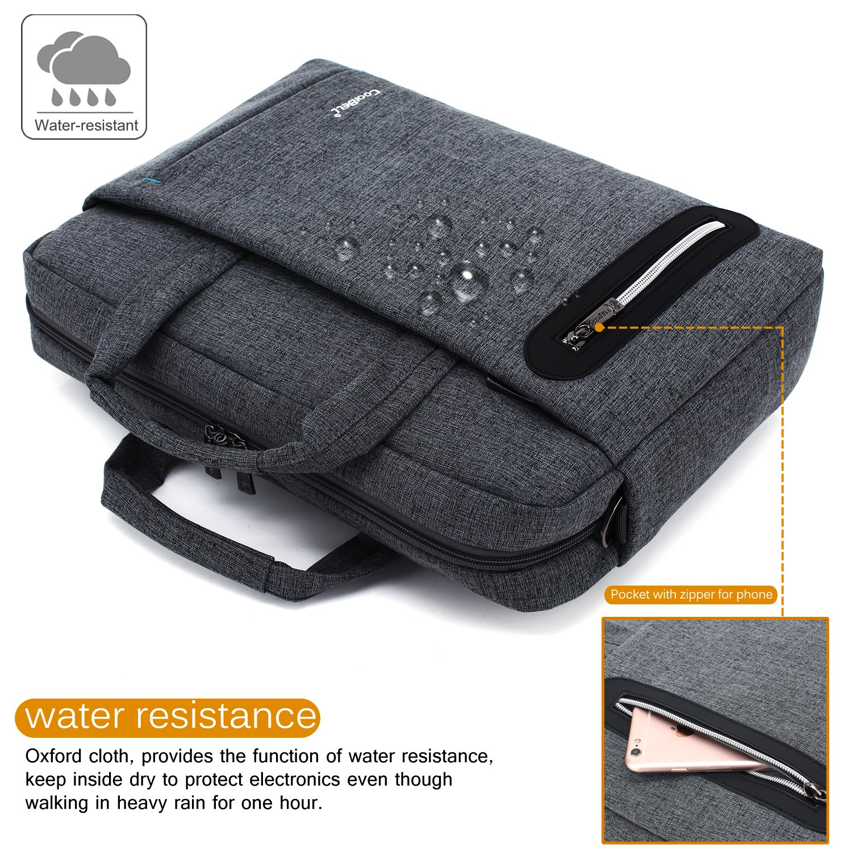 CoolBELL 17.3 inch Laptop Bag Messenger Bag Hand Bag Multi-compartment Briefcase Oxford Nylon Shoulder Bag For Laptop/Ultrabook/HP/Acer/Macbook/Asus/Lenovo/Men/Women (New Grey) by CoolBELL (Image #2)