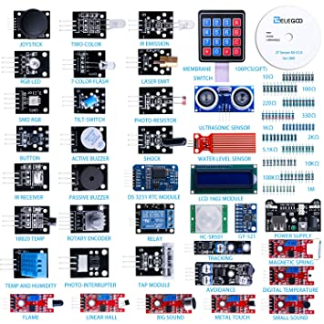 Elegoo Upgraded 37 in 1 Sensor Modules Kit with Tutorial for Arduino UNO R3 MEGA 2560 Nano 2016 new version Barebones at amazon
