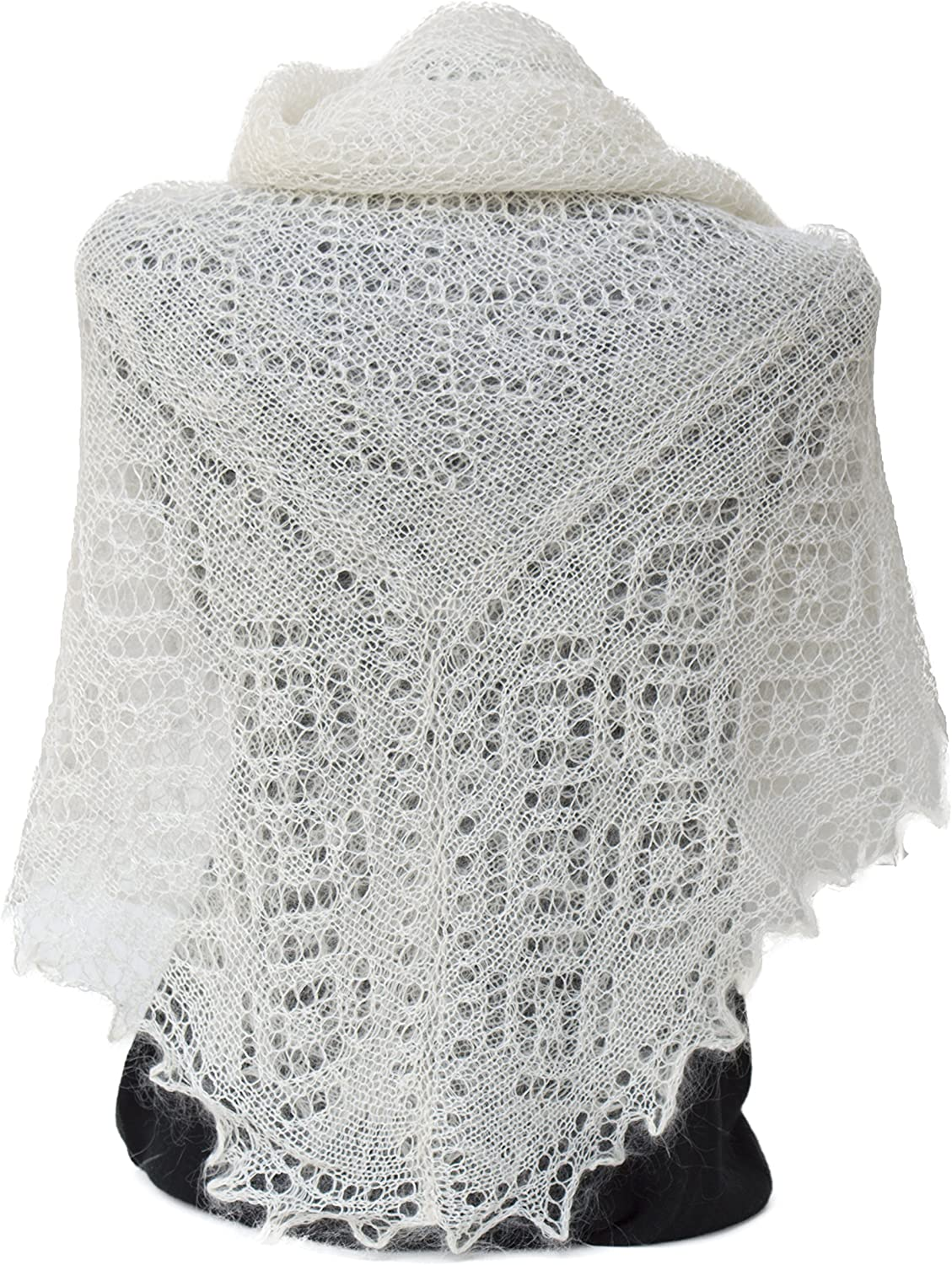Women/'s Shawl  Knit Hand Crocheted Throwover Beige Poncho