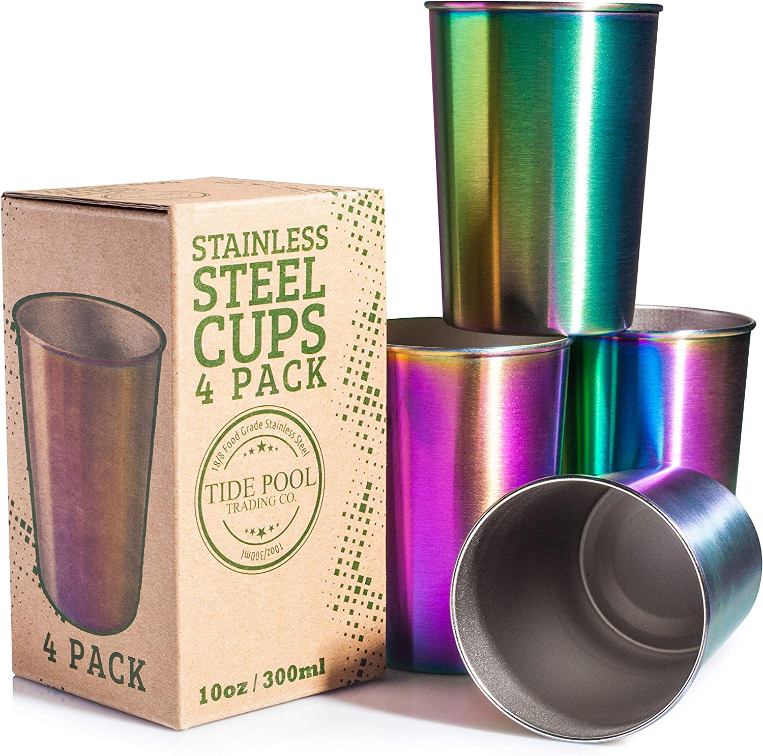 Rainbow Stainless Steel Cups 10 oz 4-Pack | Ideal for Kids | Eco-friendly, Healthy Food-Grade Safe Drinking Glasses | Durable & Unbreakable for Indoor & Outdoor Use | BPA Free
