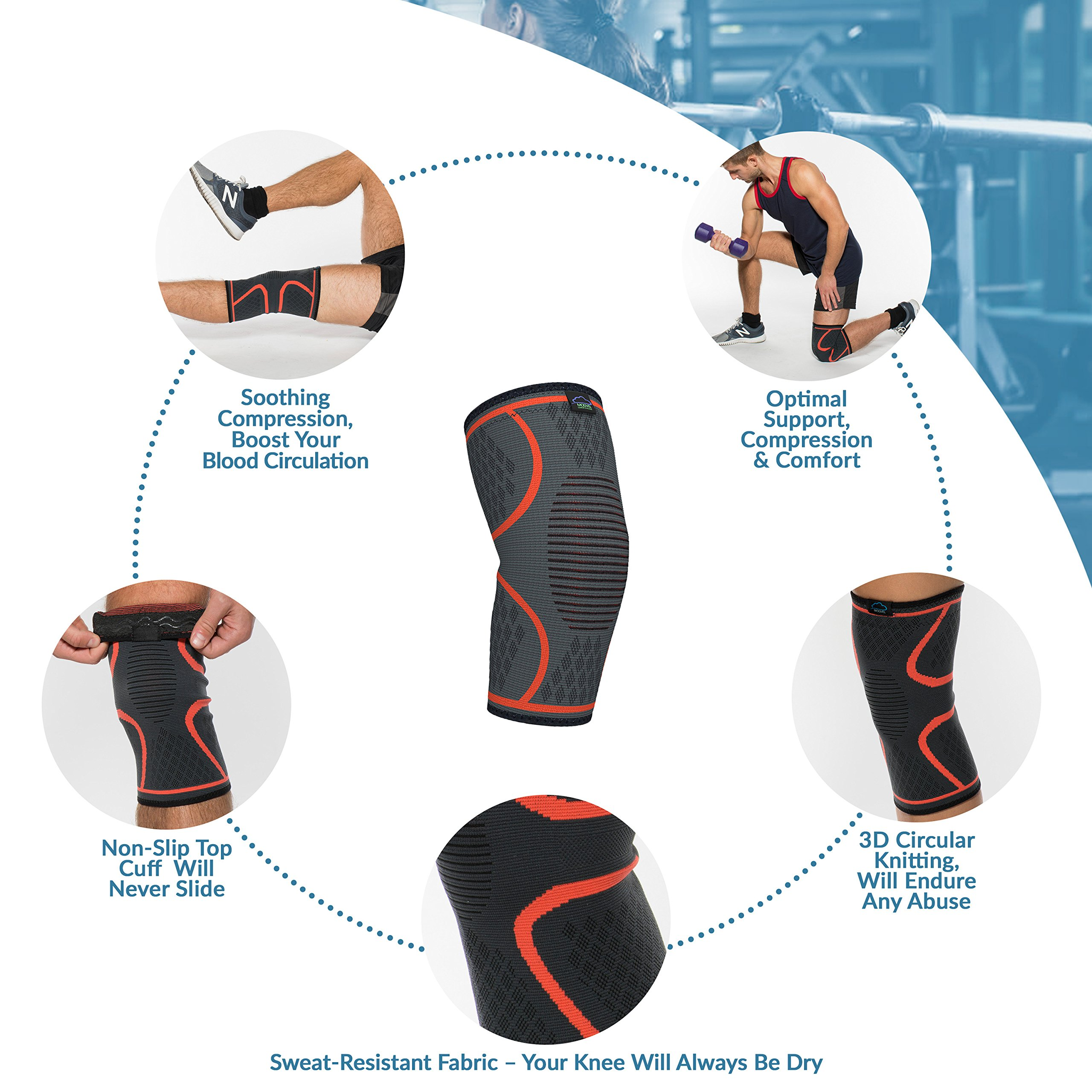 Modvel Compression Knee Sleeve (1 Pair) - Ultra Flexible, Comfortable Knee Brace for Men and Women, Great for All Athletics, Volleyball, ACL, Stabilizer for Arthritis and Knee Pain Relief, M (MV-111) by Modvel (Image #3)