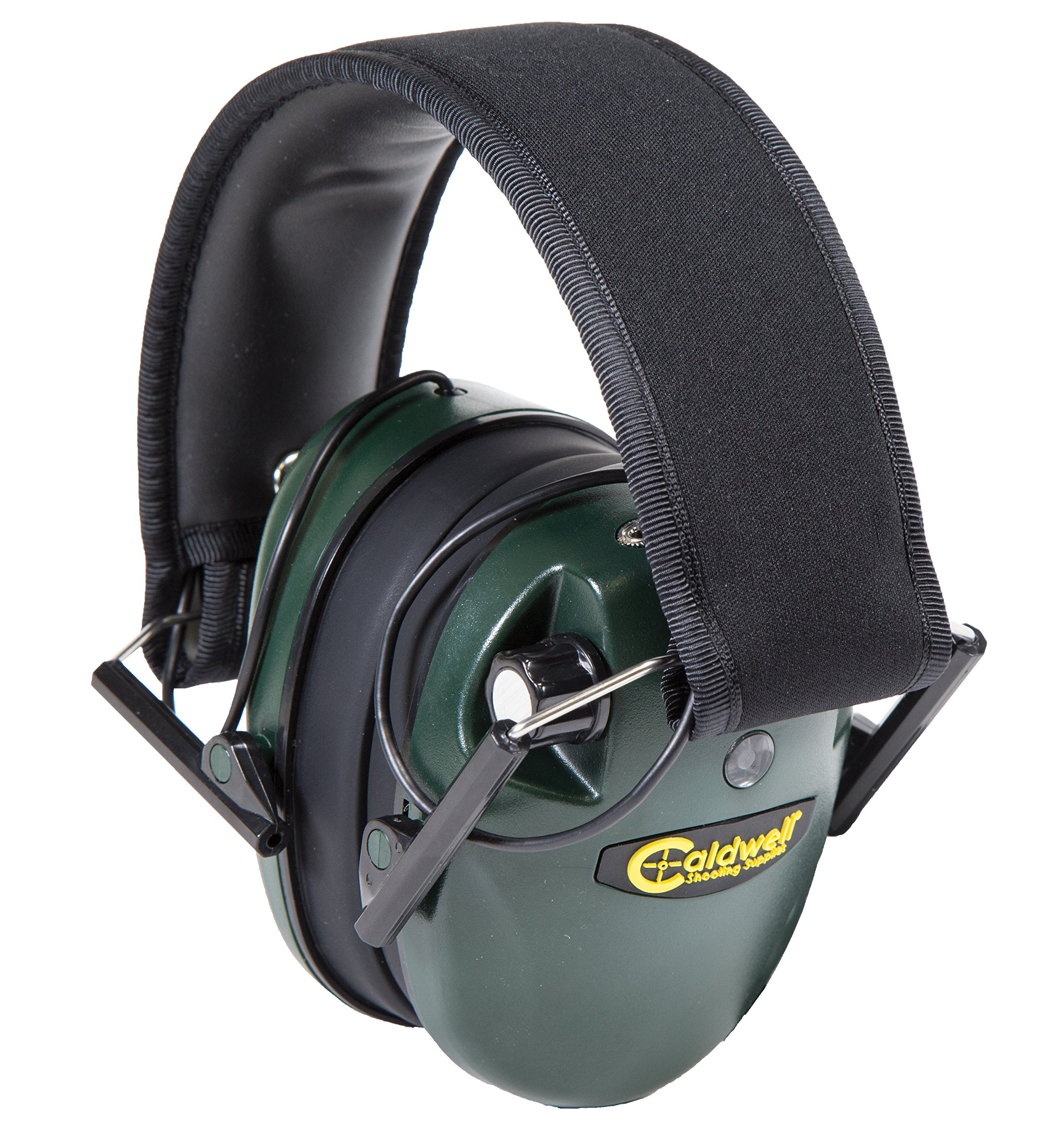 Caldwell E-Max Low Profile Electronic 23 NRR Hearing Protection with Sound Amplification and Adjustable Earmuffs for Shooting, Hunting and Range, Green by Caldwell