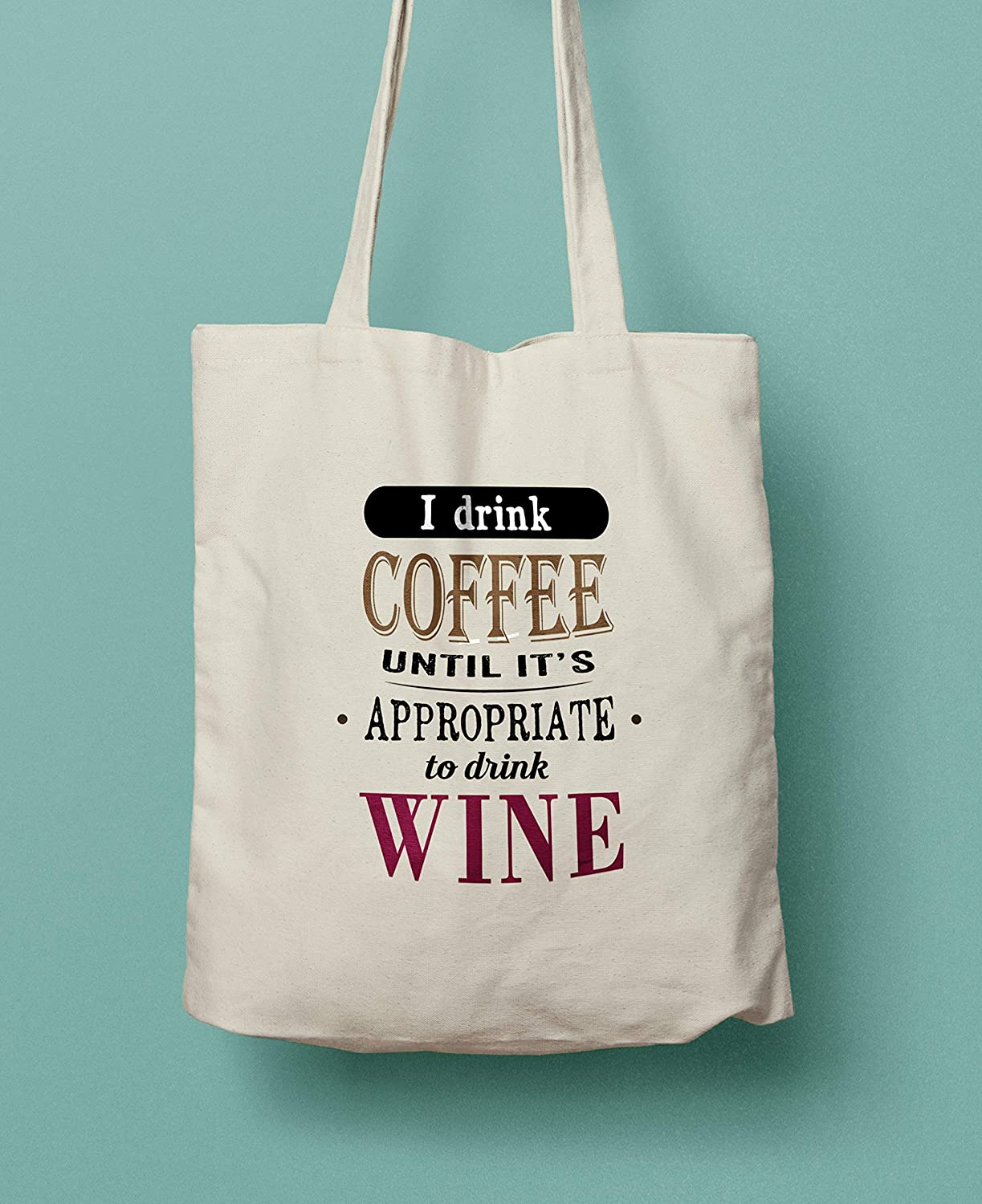 Wine Lovers Canvas Shopper Tote Bag Coffee