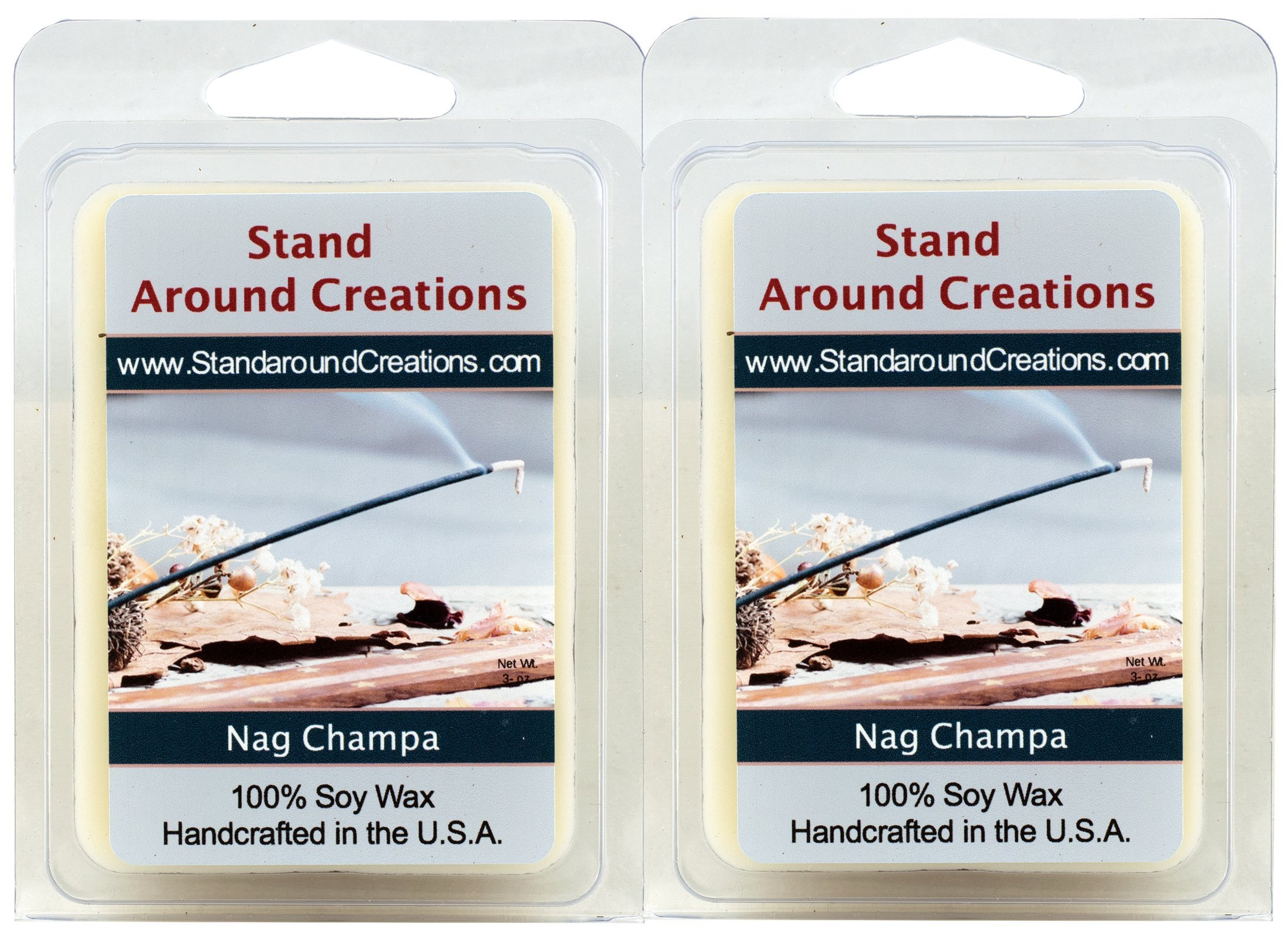 100% Premium Soy Wax Melt Tarts - Set of 2 - Nag Champa - The aroma of incense; patchouli, and sandalwood - 3ozs./ea