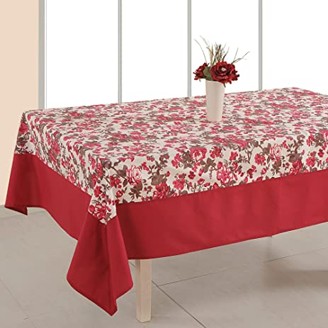 Indian Table Decor Rectangular Floral Print Cotton Tablecloth 60 X 90  Inches   6 Seater
