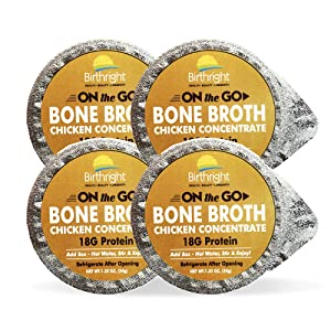 Chicken Bone Broth, On-the-Go Chicken Broth with Keto Collagen, Keto Protein Chicken Bouillon, Paleo Protein Chicken Stock Concentrate, 4-Pack Single Serve - Birthright