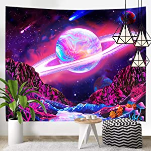 Hexagarm Trippy Planet Tapestry Fantasy Galaxy Tapestry Wall Hanging Hippie Mountain Mushroom Magic River Tapestry Psychedelic Space Wall Tapestry for Bedroom Living Room Dorm Home Decor, 59