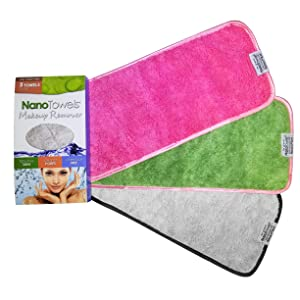 Nano Towel Makeup Remover Face Wash Cloth Multi Color 3-PACK. Remove Cosmetics FAST and Chemical Free. Wipes Away Facial Dirt and Oil Like An Eraser. Great for Sensitive Skin, Acne (Grey, Pink, Green)