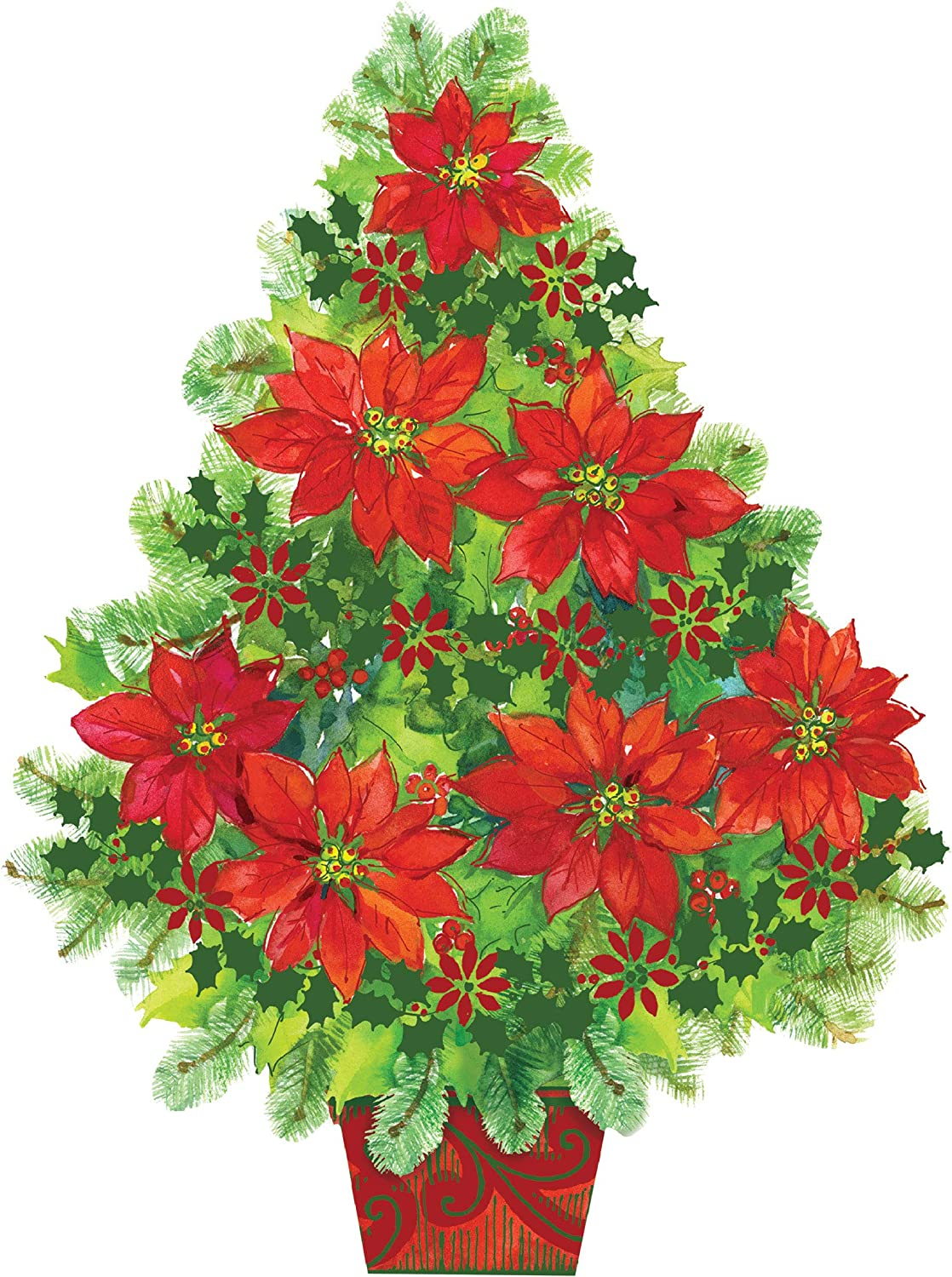 Studio M Poinsettia Tree Winter Christmas Door Décor Decorative Front Door Sign with Colorful Ribbon Hanger, Durable Fade Resistant PVC, Made in The USA, 18 x 23 Inches