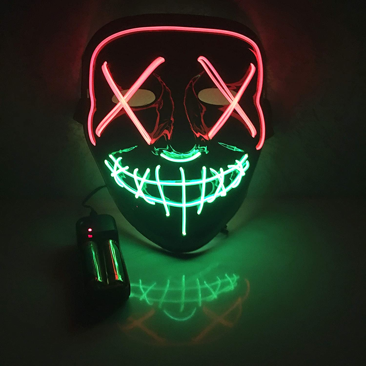 Moonideal Halloween Light Up Mask EL Wire Scary Mask for Halloween Festival Party Sound Induction Twinkling with Music Speed