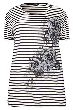 Yours Clothing Women/'s Plus Size Navy /& Purple Stripe T-shirt