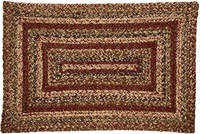 IHF Home Decor Braided Area Rug Rectangle Floor Carpet 20 Inch x 30 Inch Jute Apple Cider Design